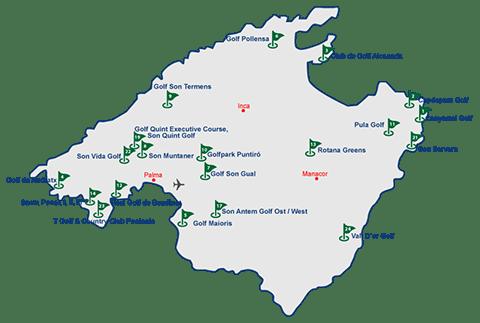 Mallorca Karte mit allen Golfplätzen der Insel